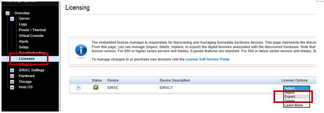 Licencias de exportación de iDRAC7 y iDRAC8
