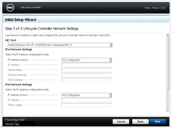 Lifecycle Controller > Settings > Lifecycle Controller Network Settings