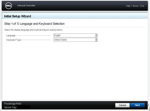 Lifecycle Controller > Settings > Language and Keyboard Selection