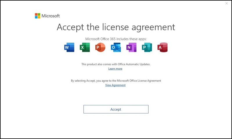 Microsoft Accept the License Agreement