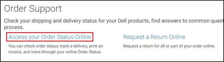 Dell.com Access Your Order Status