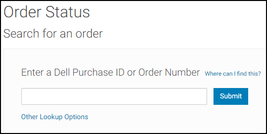 Dell.com Enter Purchase ID or Order Number