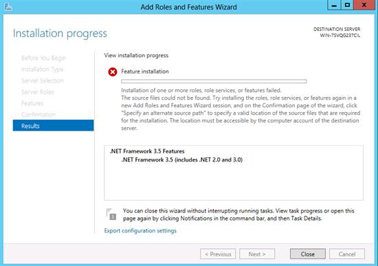 Installing .NET 3.5 Framework on Microsoft Windows Server 2012 | Dell Canada
