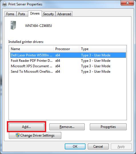 updating printer drivers windows 7