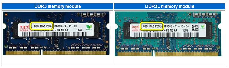image shows the difference in labelling between DDR3 memory module and DDR3L memory module