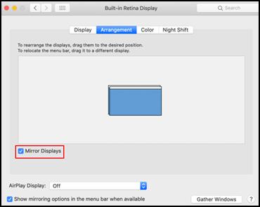 Configurações de tela do macOS
