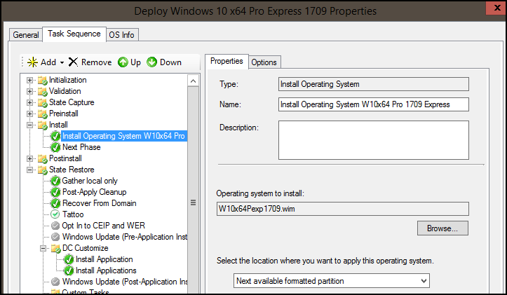 Windows Deployment Properties