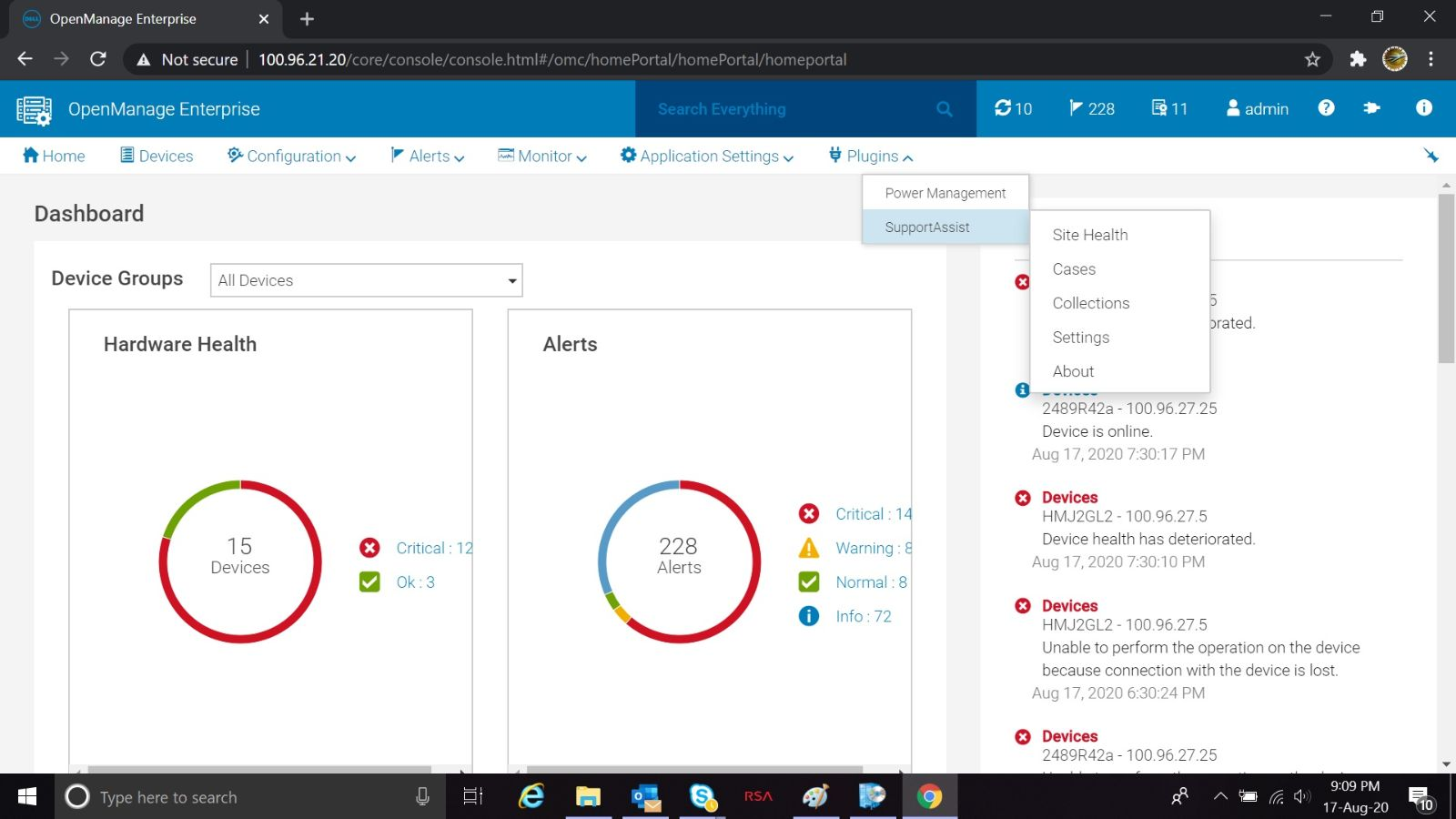 Menu oprogramowania Dell EMC OpenManage Enterprise SupportAssist