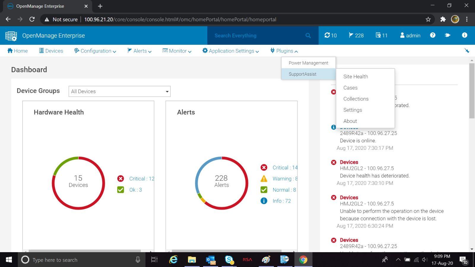 Meny för Dell EMC OpenManage Enterprise SupportAssist