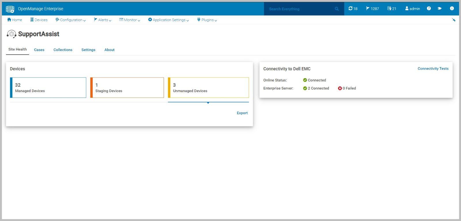 Painel de indicadores do Dell EMC OpenManage Enterprise SupportAssist