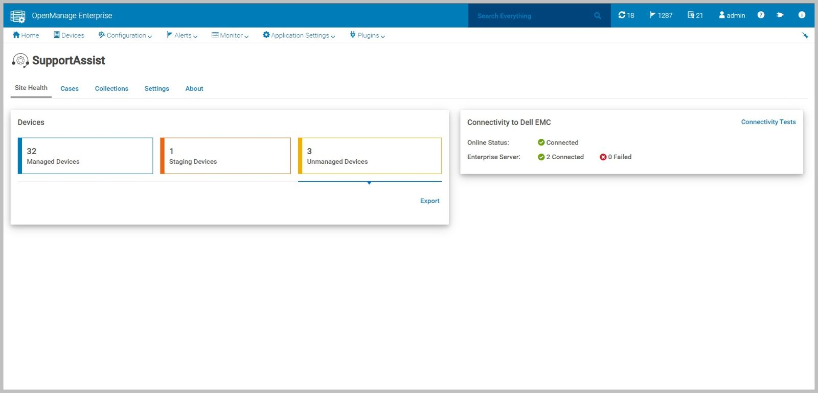 Panel de Dell EMC OpenManage Enterprise SupportAssist