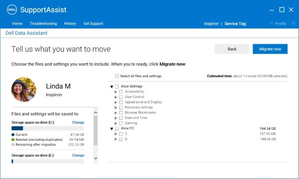 New PC (Migrate Now – Custom selection)