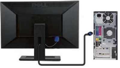 Illustration of connecting a video cable between the monitor and the desktop