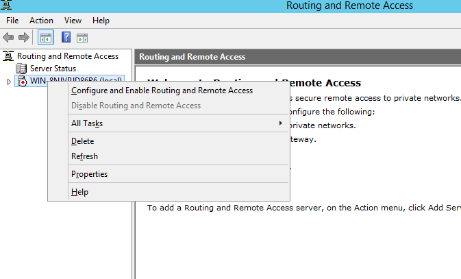 Routing and Remote Access screen