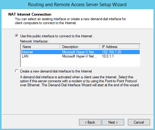 Routing and Remote Access Network Interface selection