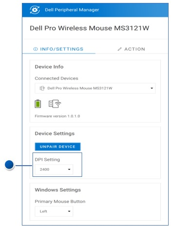 Dell Peripheral Manager DPI Setting