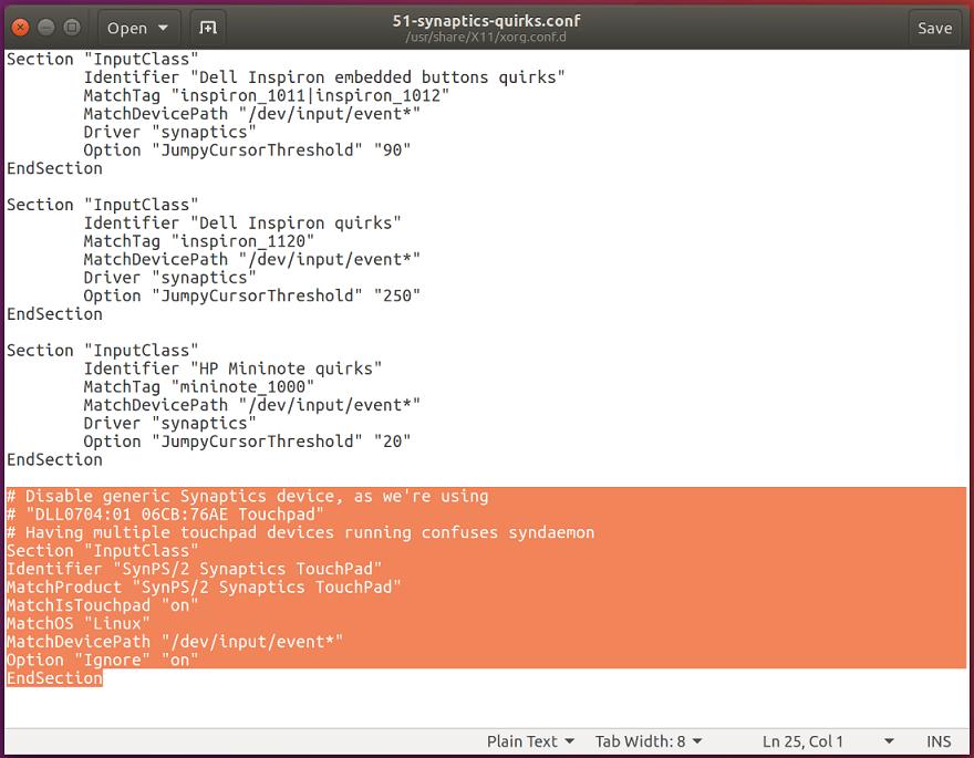 ubuntu mouse .conf file screenshot