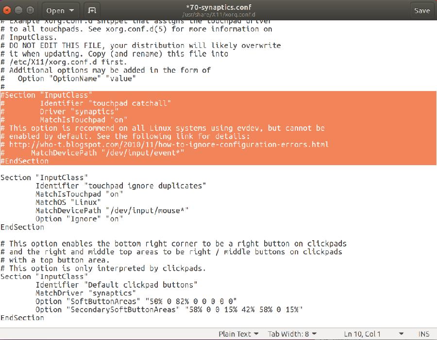 ubuntu synaptics.conf file screenshot
