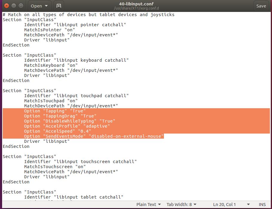 ubuntu libinput.conf file screenshot
