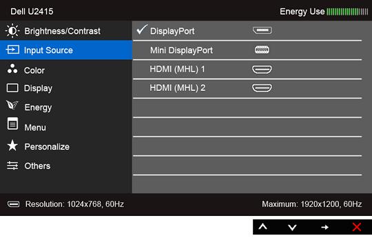 U2415 On-Screen Display Menu