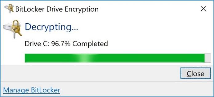 BitLocker Decrypting