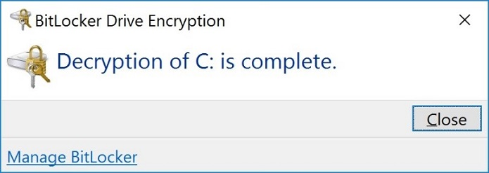 Decryption of the Drive is Now Complete