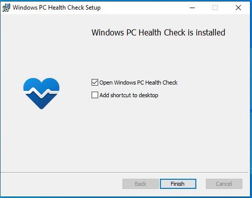 Hình ảnh mô tả quá trình cài đặt PC Health Check thành công.