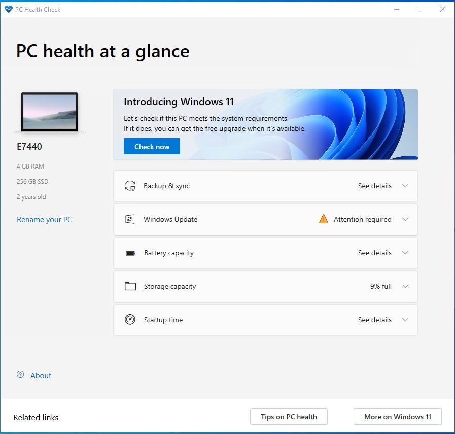 Hình ảnh mô tả ứng dụng PC Health Check và nút Kiểm tra ngay.