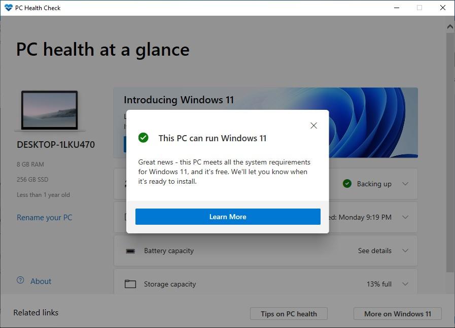 """Hình ảnh mô tả PC Health Check cho biết, """"PC này có thể chạy Windows 11""""."""