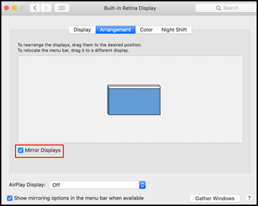 Nastavení zobrazení systému MacOS
