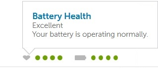 Exempel på batteriets hälso indikator i Dell Power Manager