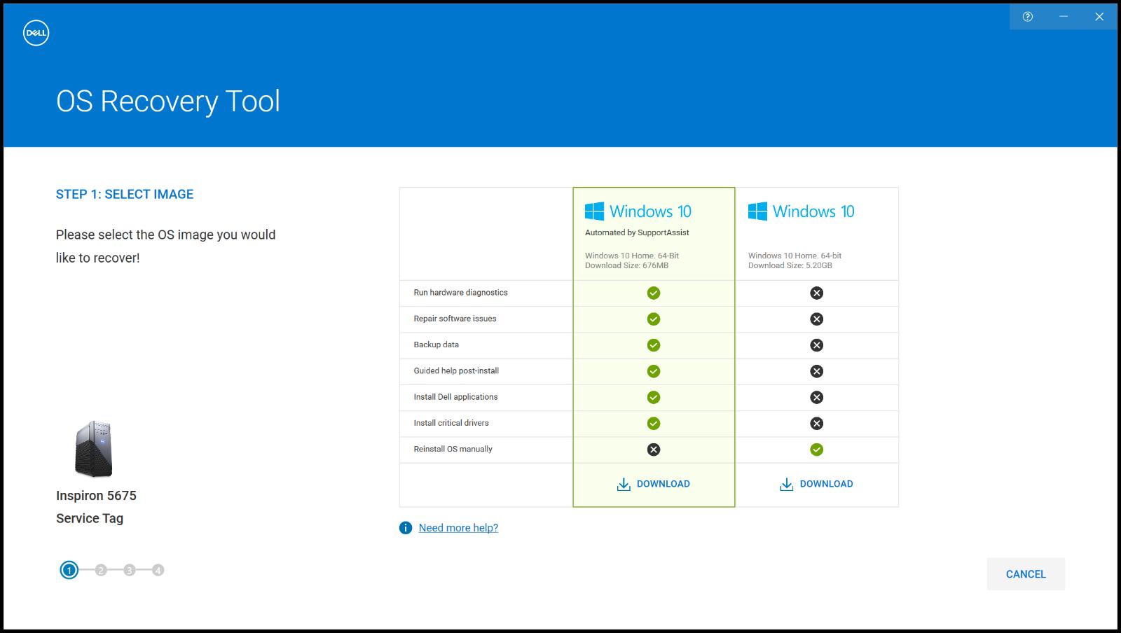 「Windows 10 Automated by SupportAssist」イメージと「Windows 10」イメージの違い(英語の画像)