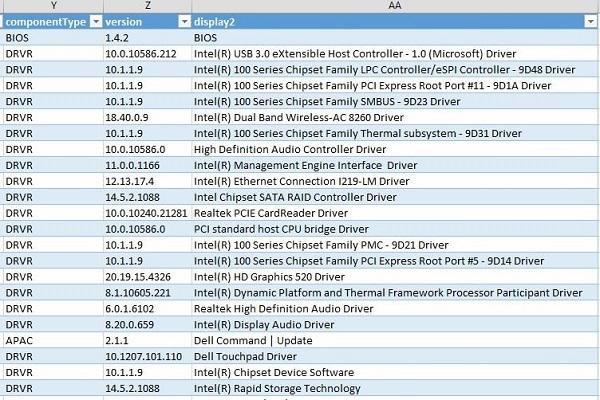 HOW10760_de__22Excel report of drivers versions